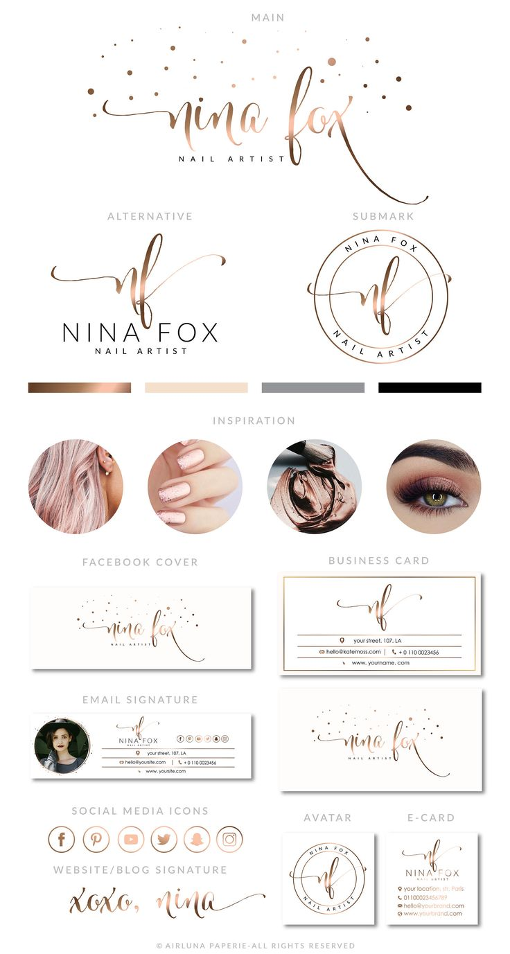 Rose Gold Nail Logo Design, Nail Extension Logo, Makeup Logo Design, Premade Logo Design, Studio Logo, Calligraphy Logo, Beauty blogger Logo