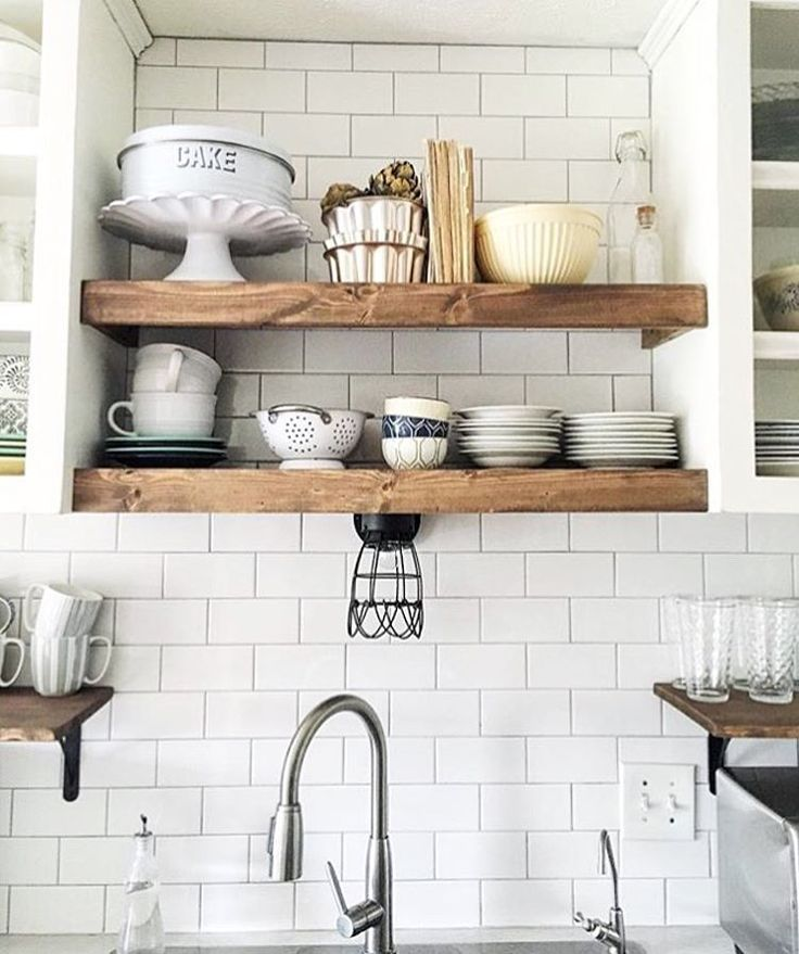 decor for open wood shelving in all white  kitchen / Hygge home decor