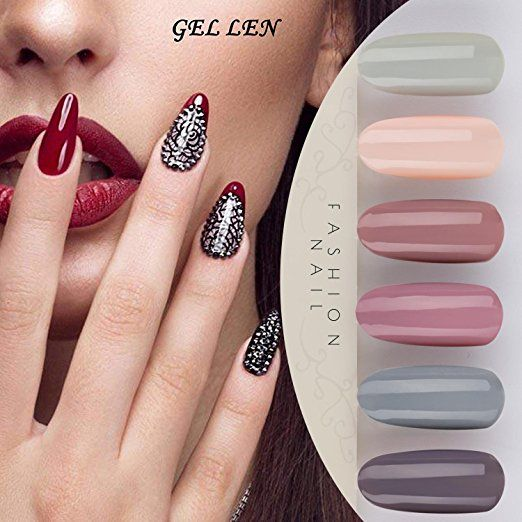e5de773390 Gellen Gel Nail Polish Set - Nude Gray Series 6 Colors Nail Art Gift Box,  Soak Off UV LED Gel Polish Kit 8ml