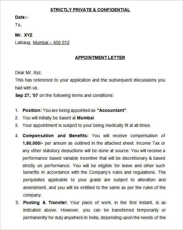 appointment letter format agent template free word pdf download