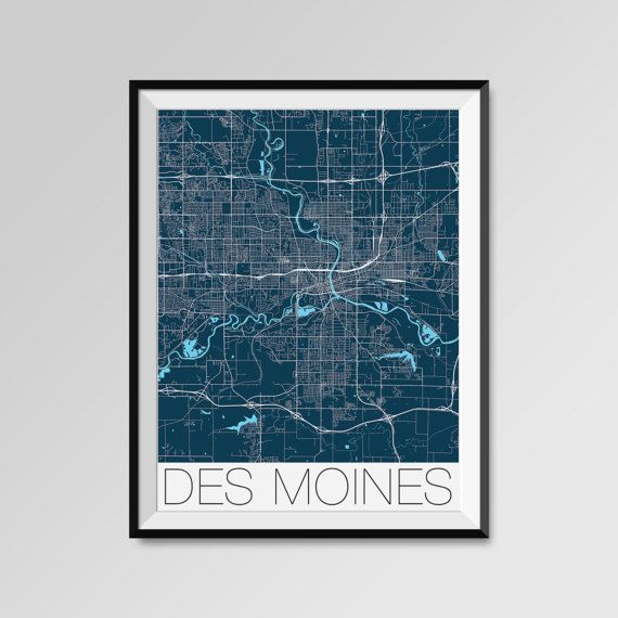 Des Moines map, Iowa, blue, Des Moines print, Des Moines poster, Des Moines map art, Des Moines city maps, Des Moines Minimal Wall Art, Des Moines Office Home Décor, black and white custom maps, personalized maps