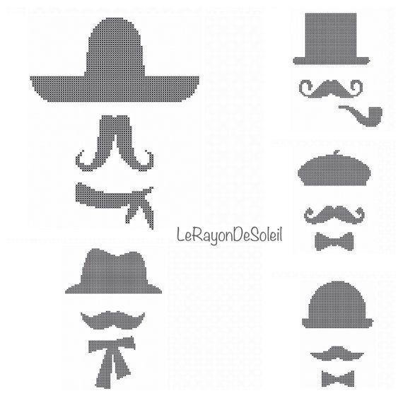 Cross stitch pattern Moustache silhouettes ribbon hat bowler topper desperado on Etsy, 3,00 €