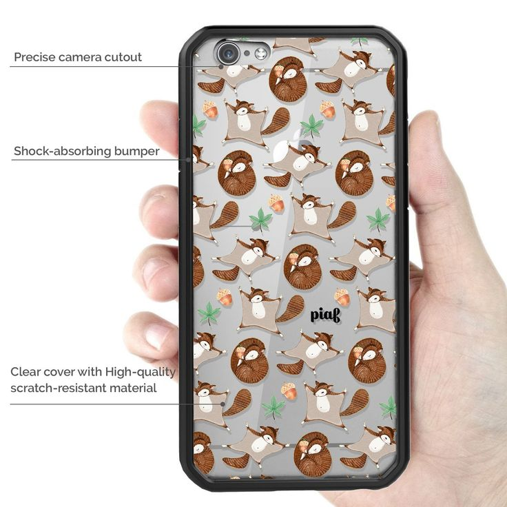 Amazon.com: iPhone 6 Case, Piaf Clarion Clear Hard cover with Design shock absorbing bumper Scratch Resistance Black Flying Squirrel: Cell Phones & Accessories