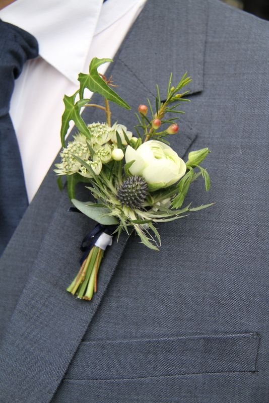 "Flower Design Events: Wild ""just picked"" style Boutonnieres with blue Eryngium"
