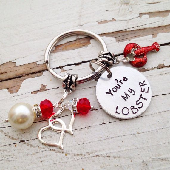 Youre my Lobster friends phoebe buffet keychain hand stamped key chain heart initials lobster charms