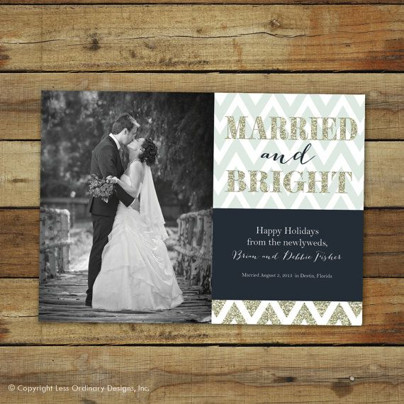 Married And Bright Newlywed Holiday Card Christmas Marriage Announcement Glitter