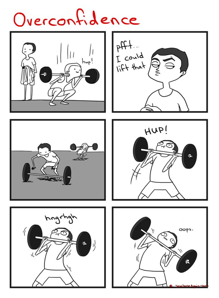 The gym is no place for overconfidence: leave your ego at the door! [View comic]