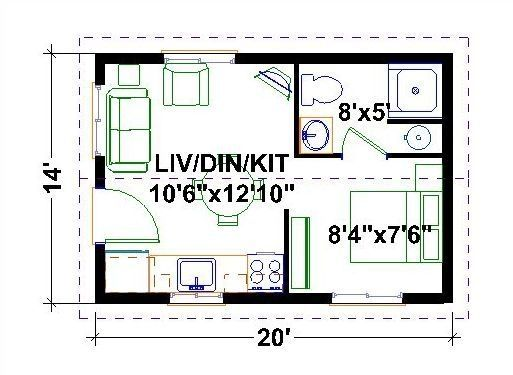 Very Tiny Houses Floor Plans | One Bedroom Homes |…