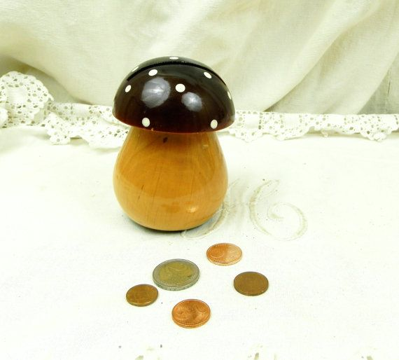 Vintage Franse houten Mushroom vormige spaarpot / nog Bank, geld veilig woon decoratie, speelgoed, Piggy Bank, Retro, interieur, Forest, verzamelen