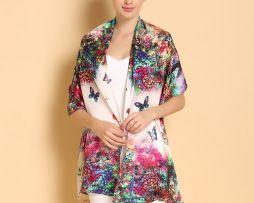 Luxusný dámsky hodvábny šál vo výrazných farbách