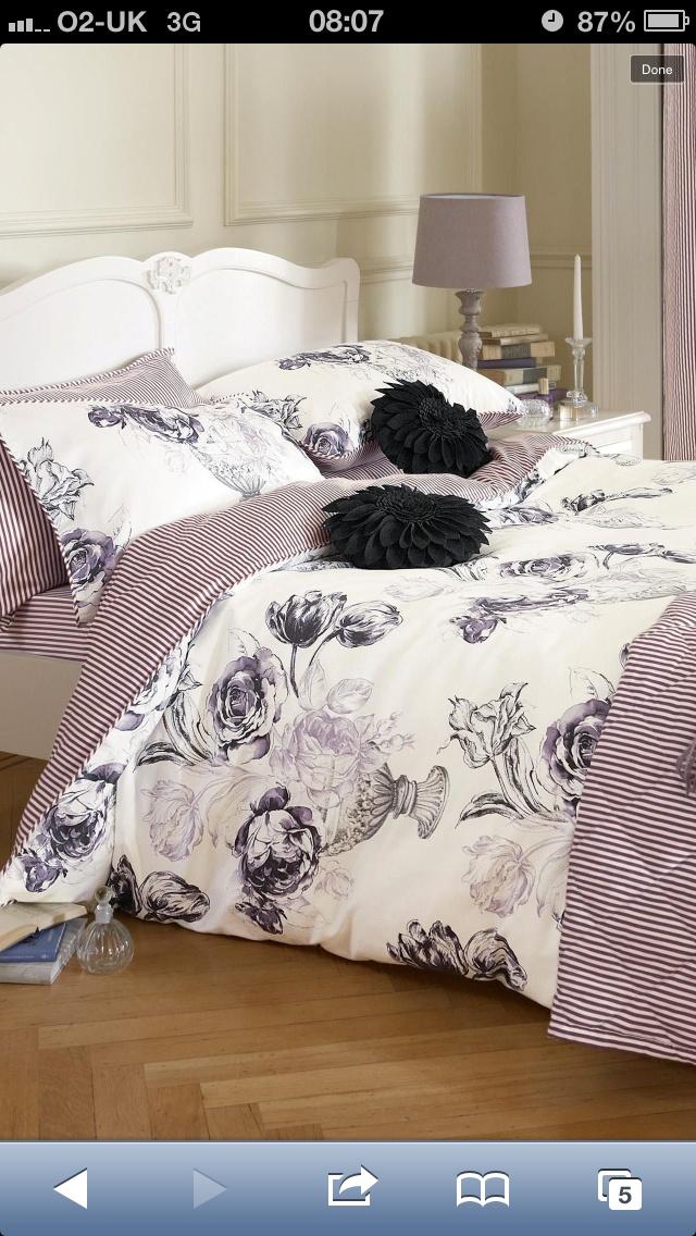 Elegant Floral Print Bed Set from Next for my dark grey/dark purple/white bedroom idea