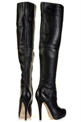 "100% leather over knee boots, soft grain leather, side zip. Size uk 7 eu 40 us 9.5. Overall height from tip of heel to top of boot is 25"" Heel height 5"" Concealed platform. Highly desirable, t hese are some of the best boots in this style you will find! 