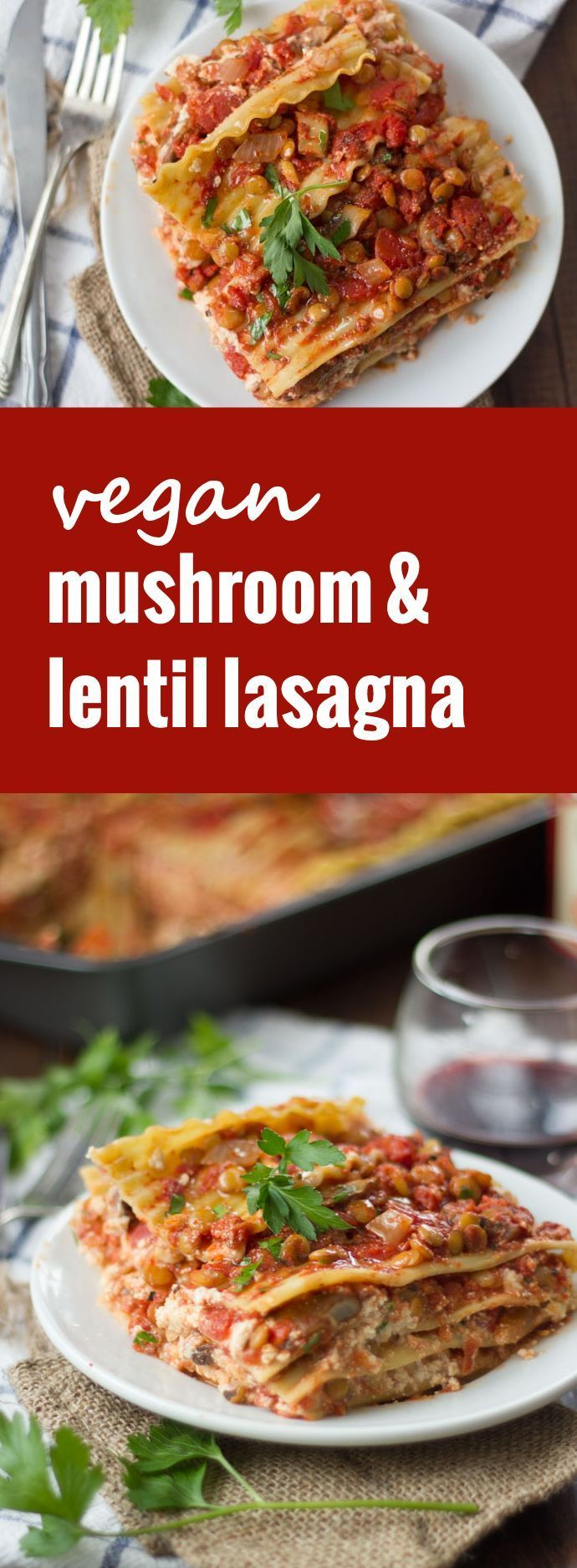 This hearty vegan lasagna is made with layers of noodles, rich cashew ricotta and hearty mushrooms and lentils simmered in spicy tomato sauce. #RedpackRecipies #RedpackTomatoes #ad