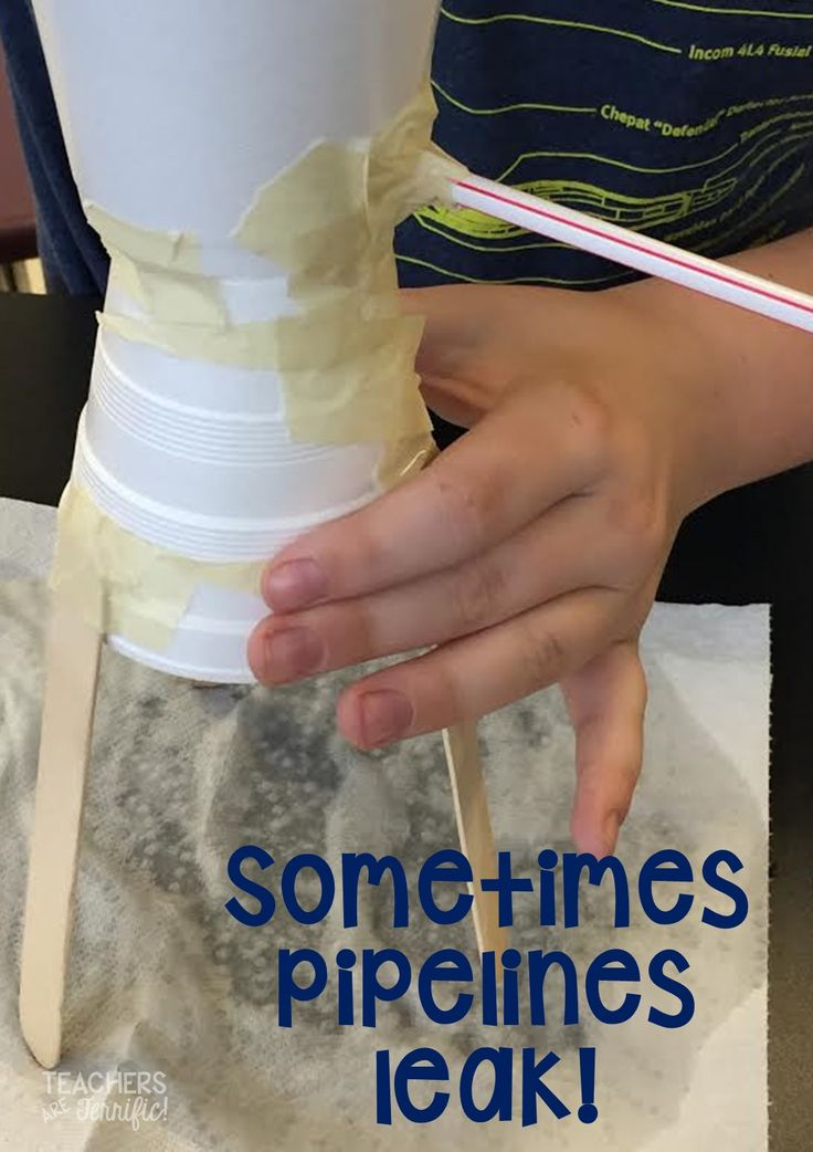 STEM Challenge: Build a water pipeline with water tight connections. What a fabulous learning opportunity as the connections leak and students have to find a way to stop those leaks!