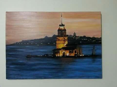 50*70 tuval akrilik el boyama  Istanbul kız kulesi gün batımı fotograftan alınma