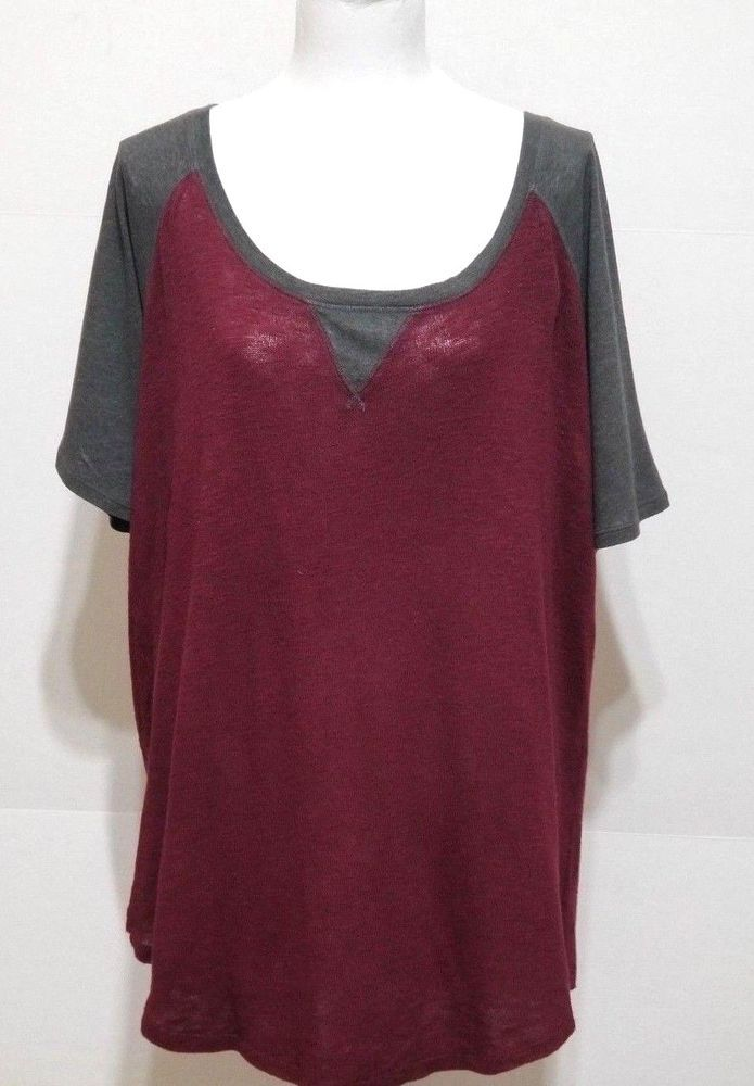 383ffb0284065 Torrid Short Sleeve Top Size 2 Red Gray Scoop Neck 1 4 Zip  Torrid  Blouse   Casual