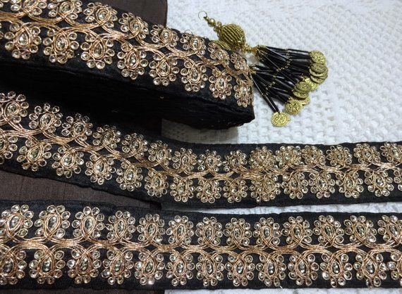 ATTRACTIVE INDIAN ANTIQUE GOLD CRYSTAL AND PEARLS RIBBON LACE TRIM-SOLD by METRE