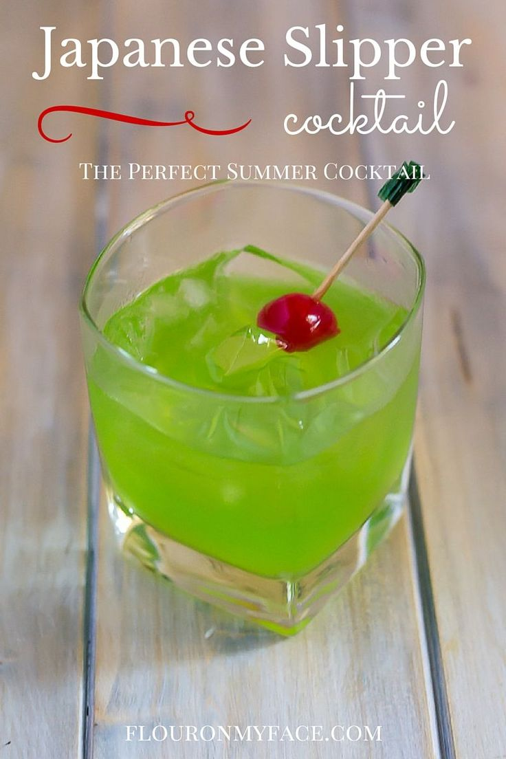 Summer Cocktail recipes: Japanese Slipper Cocktail recipe is another perfect cocktail recipe using green melon Midori liquor to sip on by the pool via flouronmyface.com