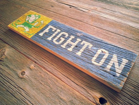 Hey, I found this really awesome Etsy listing at http://www.etsy.com/listing/164027160/notre-dame-fight-on-pianted-on-reclaimed