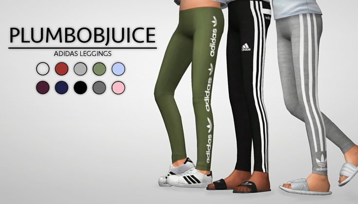 Adidas leggings 3 different styles, 10 colors for each style Made for girls, I might make an adult version if anybody wants me to. Can be found in the accessory tab under leggings. Download http://amzn.to/2tmWHG9