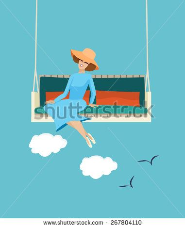 Happy elegant woman wearing a trendy straw sunhat relaxing in the summer sunshine on a swing with a cloudy blue sky backdrop with flying birds, vector illustration