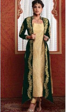 Designer Salwar Kameez: Butter Cream Color with Jacket | FH374861988