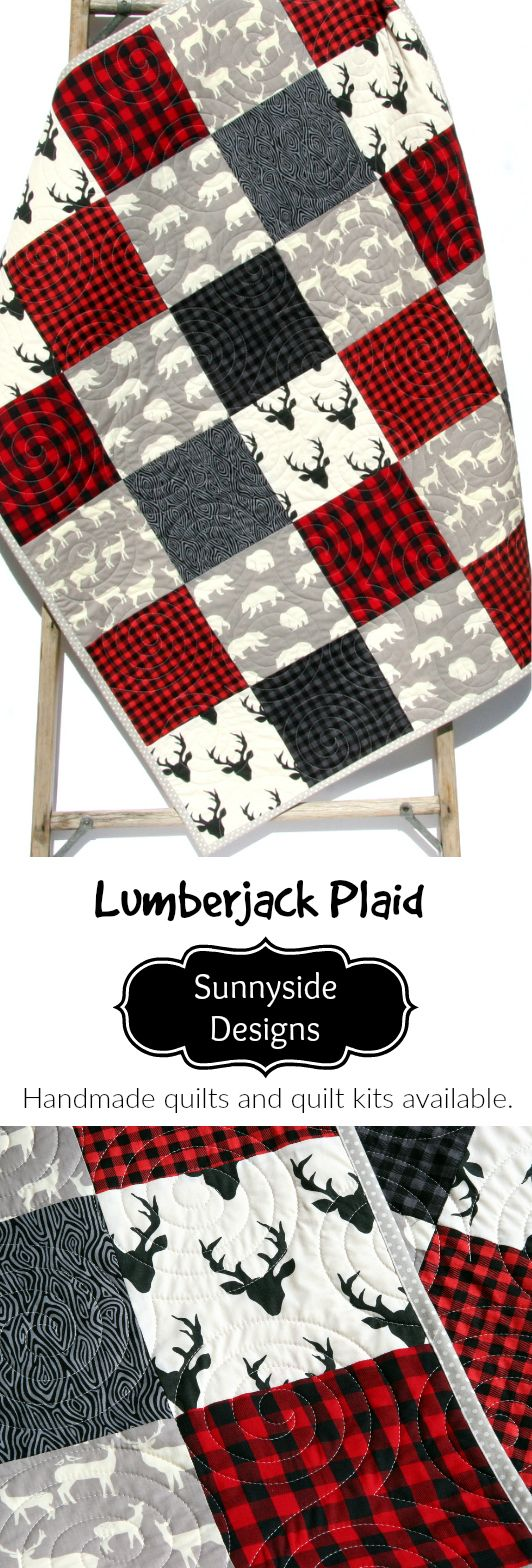 Buffalo Plaid Handmade Quilt in Baby and Toddler Sizes, Lumberjack Nursery Theme, Baby Quilt Kits, Toddler Quilt Kit, Throw Quilt Kits and Twin Quilt Kits, Red Black Grey Gray Baby Bedding, Woodland Crib Blanket by Sunnyside Designs