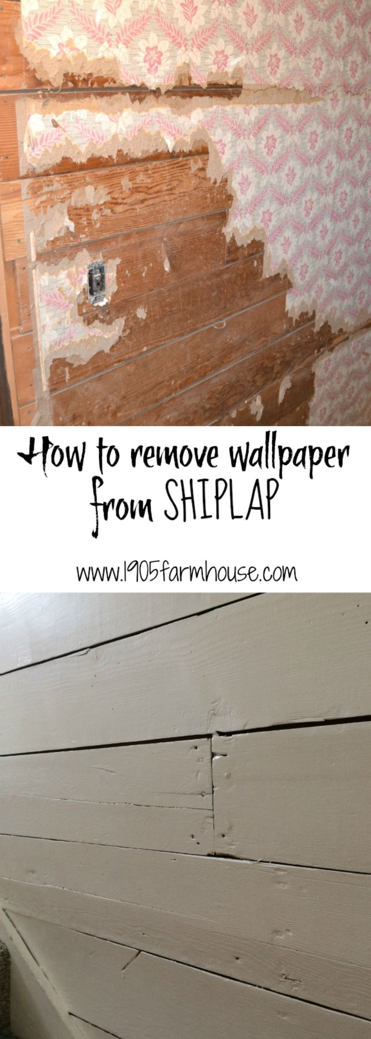 How to remove wallpaper paste from sheetrock - How To Remove Old Wallpaper From Original Shiplap In A Farmhouse