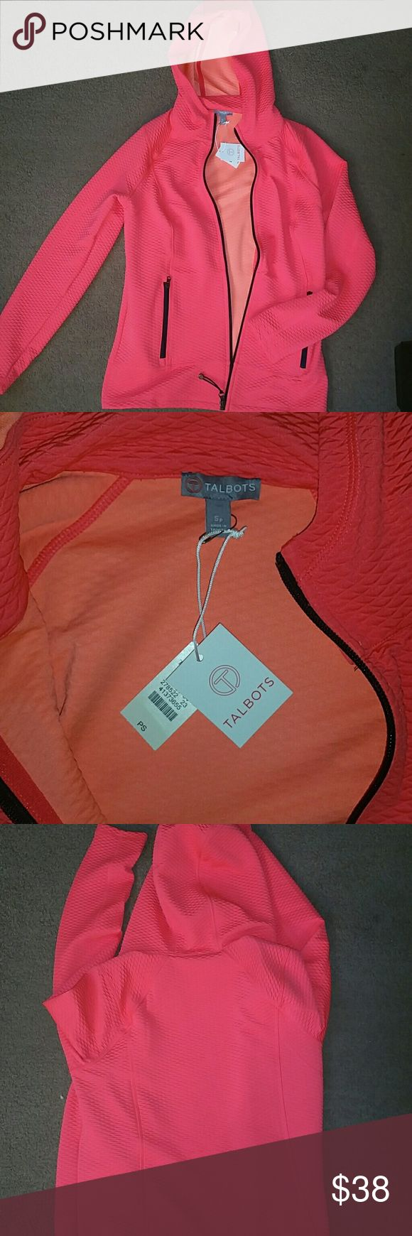 Talbots petites size small active jacket NWT Talbots petites size small active jacket. Peach/bright pink in color. Full zip-up with hood. Zip pockets. New with tags. Talbots Tops Sweatshirts & Hoodies
