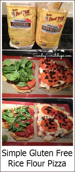 Simple gluten free brown rice flour pizza dough --  you don't need multiple flours, you don't need Xanthan gum, you don't need yeast. Easy-peasy! Crust itself is dairy free, too.
