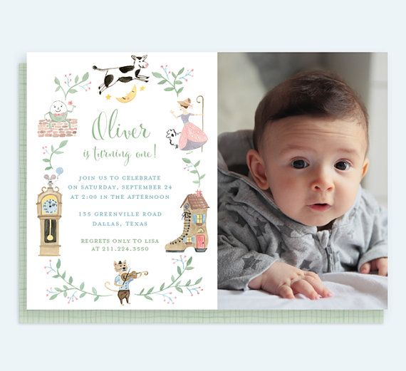 Nursery Rhyme Birthday Invitation Mother Goose First Stor