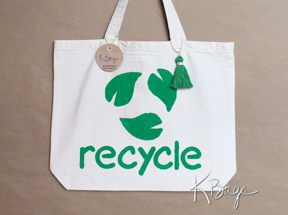 Hand-Painted Canvas Tote Bag  Recycle Leaves by KristiBags on Etsy