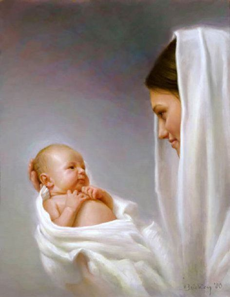 And Mary said, My soul does magnify the Lord, Luke 1:46 Mary and Jesus by Joseph Brickey (1973, American)