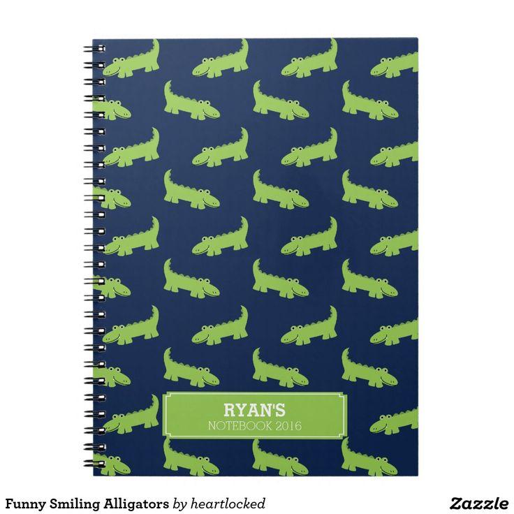 Funny Smiling Alligators Spiral Notebook