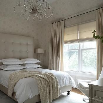 Champagne Beige Bedroom with Tall Leather Tufted Headboard