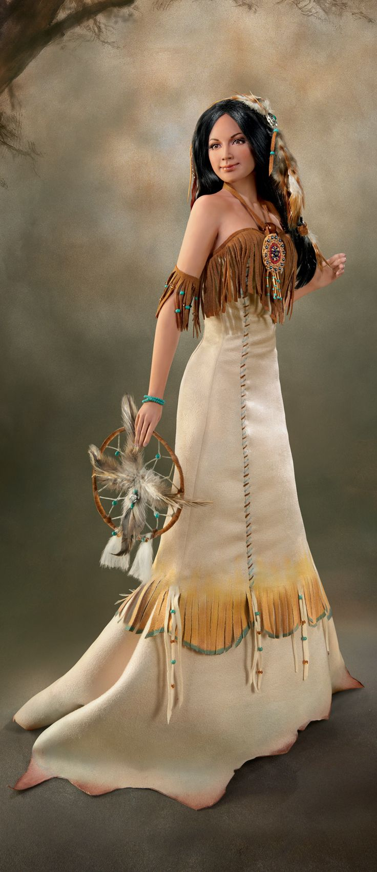 Handcrafted porcelain bride wears intricately tailored faux buckskin gown with beading and feathers.