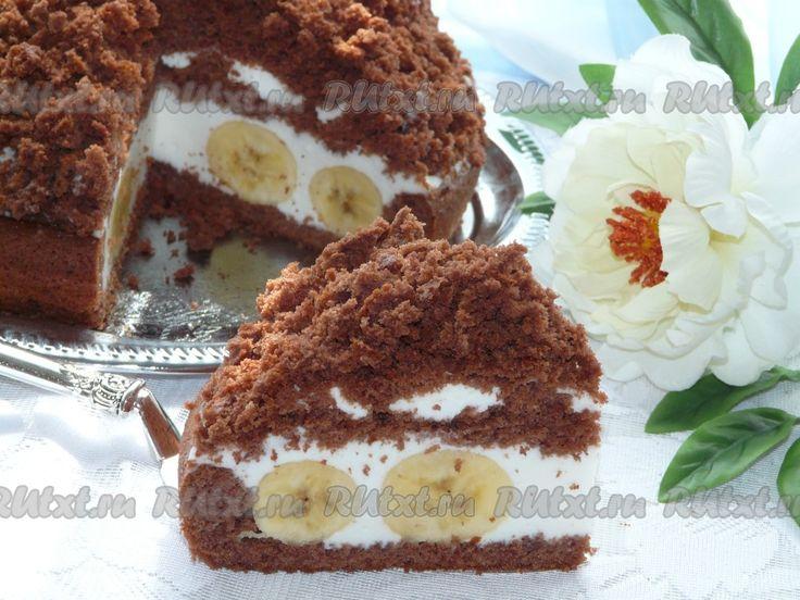 """Торт """"Норка крота"""" с бананами - рецепт с фото"""