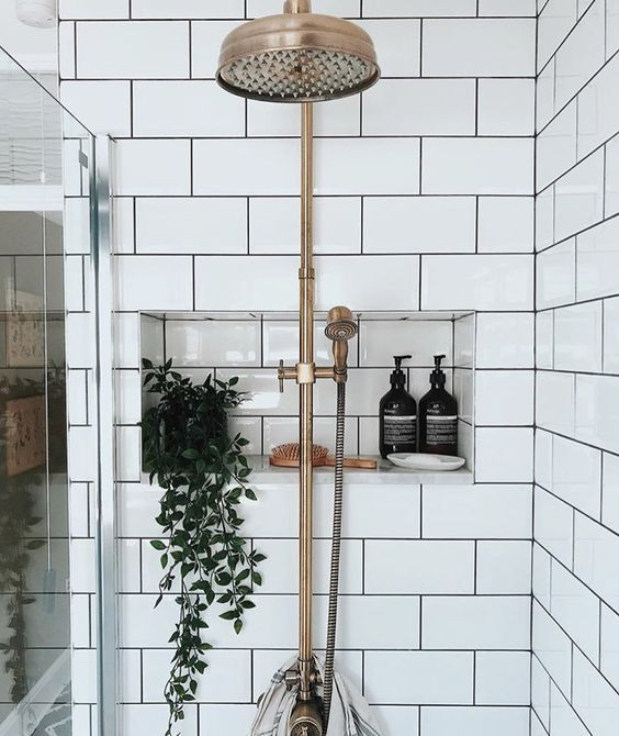 Simple Clean Shower White Tile Gold Shower Head Plant