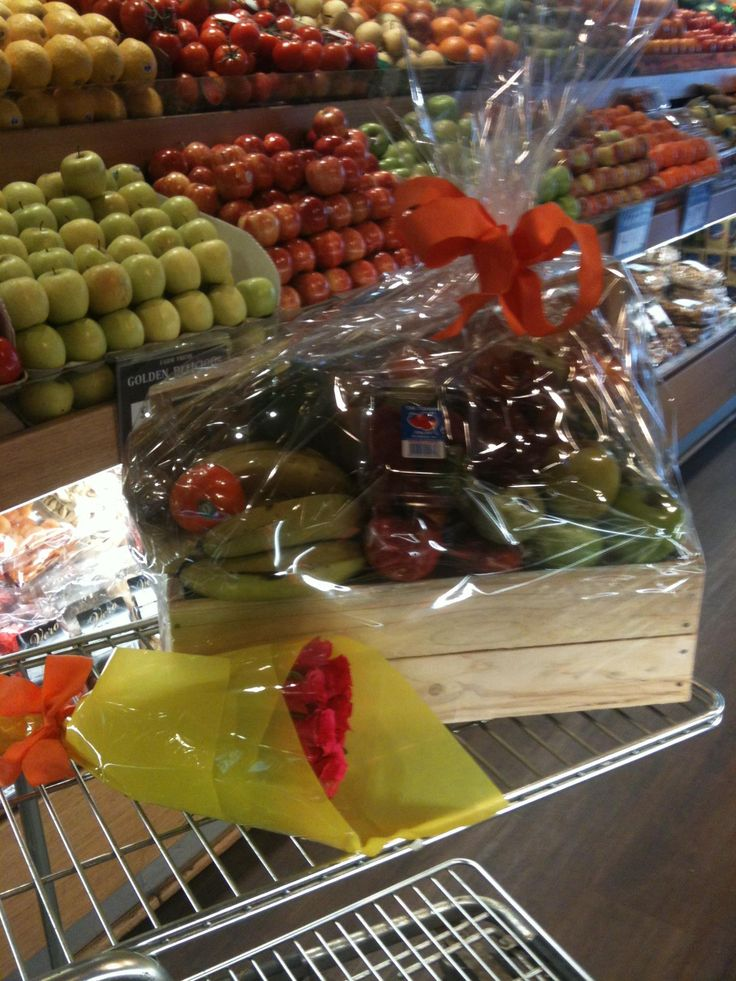 Fruit hamper and fresh roses the perfect surprise from Essendon Fruit Supply