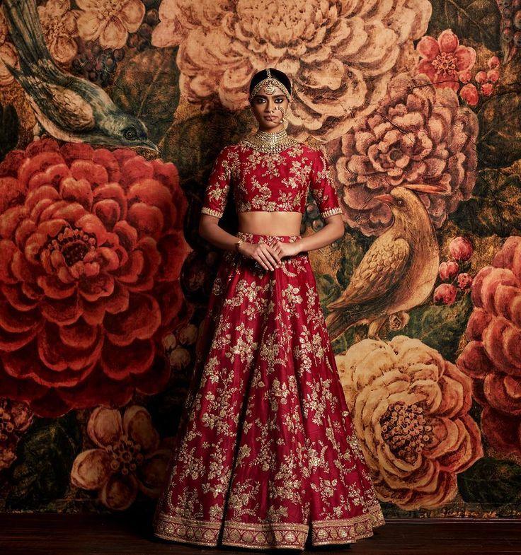 Deep red embroidered lehenga - Sabyasachi 2016