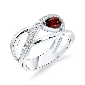 Angara Square Garnet Wedding Ring in White Gold 8fUfC8