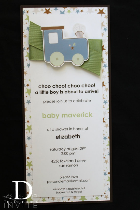 Choo Choo Train Baby Shower Invitations by TheDelightfulInvite, $45.00