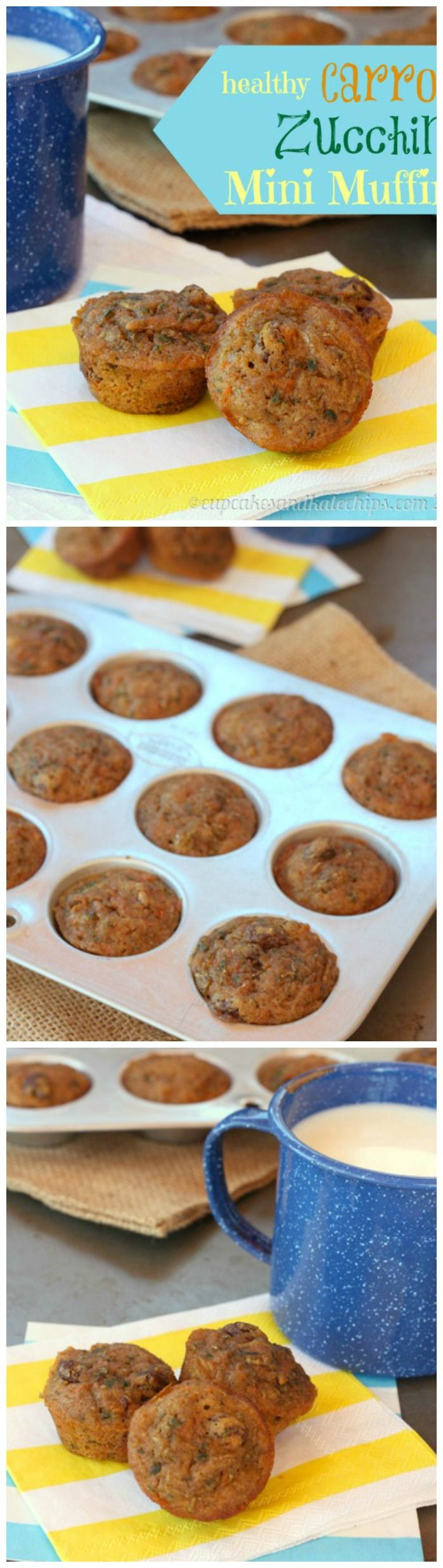 Healthy Carrot Zuchini Mini Muffins | via @Jenny Russell Melrose from The NY Melrose Family