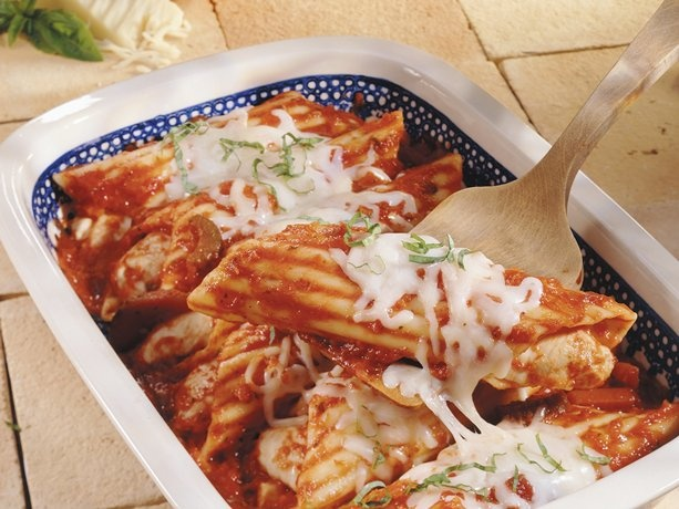 Super-Easy Chicken Manicotti~ You can sub beef or sausage for chicken if you desire!