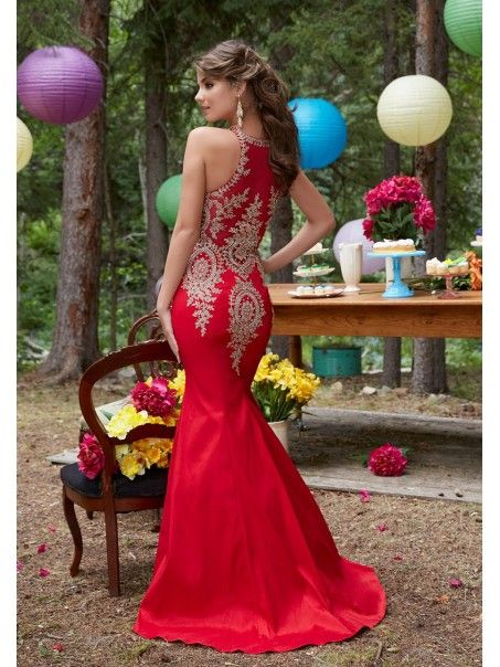 c9e8f3eaf4a Affordable Mermaid Long Red Jewel Prom Dresses with Gold Lace Appliques  5604001