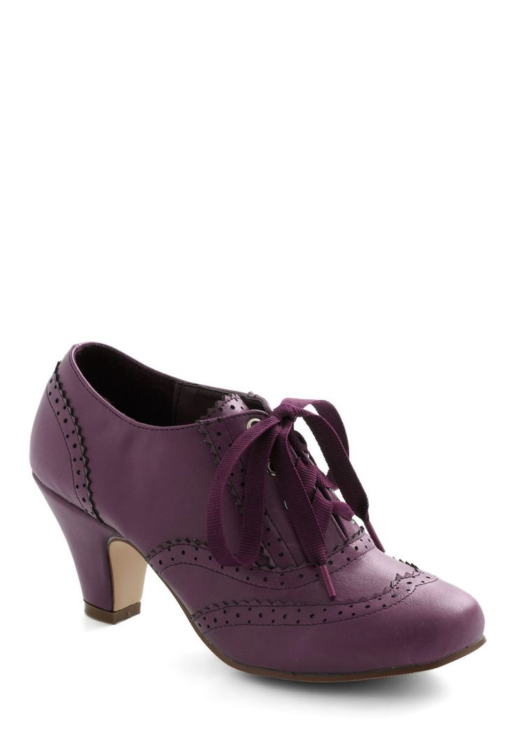 Dance Instead of Walking Heel in Purple - Solid, Menswear Inspired, Vintage Inspired, 20s, 30s, Mid, Lace Up, Faux Leather, Exclusives, Purple, Work