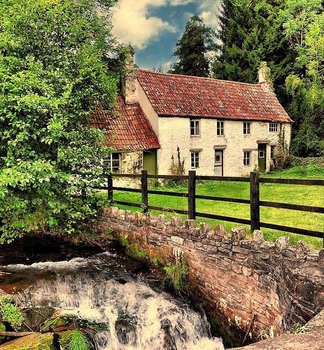 Tintern cottages and brook, Barbadoes Wales I think I'll have to go here.
