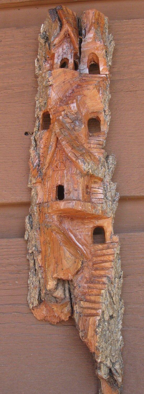 Carving cottonwood bark whimsical house tree