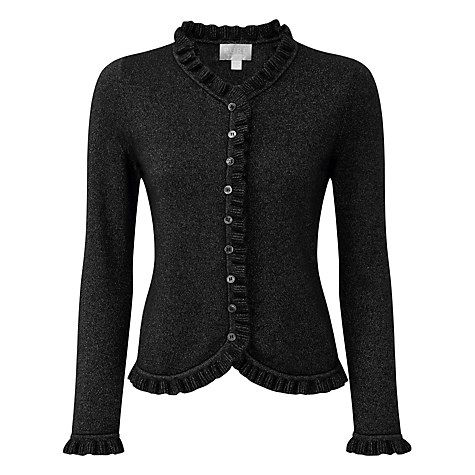 Buy Pure Collection Gwynne Ruffle Edge Cardigan, Black Sparkle Online at johnlewis.com