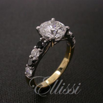 Black diamonds aren't used very much but they're pretty cool don't you think? They are not too badly priced… it's just finding them in the right sizes that can be difficult. This is a great ring we created with a 1.50 ct main diamond and alternating black/ white diamonds. #jewellery #engagement #wedding #ellissijewellery